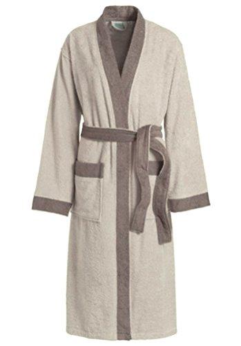 Kimono Bademantel für Damen und Herren Morgenmantel Frottee frottier Hausmantel unisex Grau Gr. XS