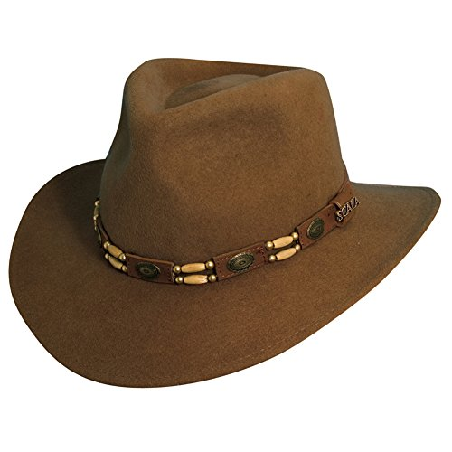 Scala Crushable Wool (Scala Classico Men's Crushable Felt Tracker Hat, Pecan, S)