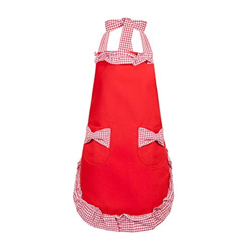 APRN-007 - Red Cooking Apron with Pockets and Ruffle Checked Trim