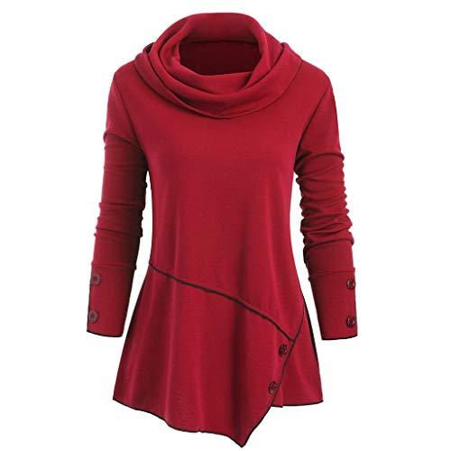 Women high Collar Sweater Button top Plus Size Blouse Neck Buttons Asymmetric Top Red 6 Mm Neck Collar