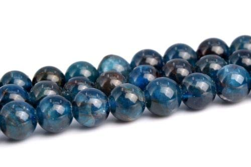 4-5mm Genuine Natural Dark Blue Apatite Grade A Round Gemstone Loose Beads 15'' Crafting Key Chain Bracelet Necklace Jewelry Accessories Pendants ()