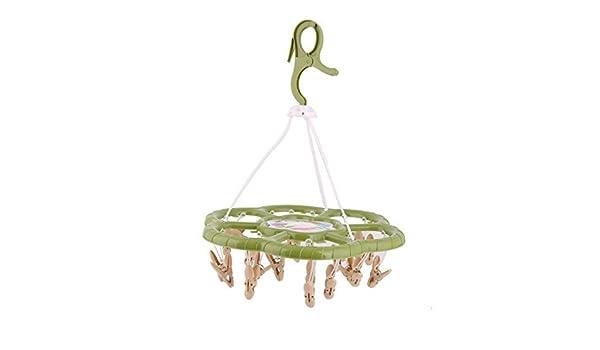 Amazon.com: eDealMax Flores de plástico del hogar en Forma de gancho giratorio 24 Clips Tendedero la suspensión de ropa Verde: Home & Kitchen