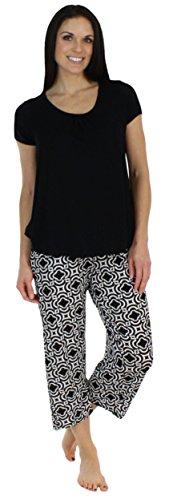bSoft Women's Sleepwear Bamboo Jersey Short Sleeve Top and Capri Pajama Set, Black Mosiac - Black Top (BSBJ1830-1057S-LRG)