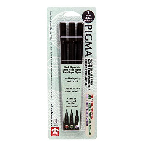 Bold Art - Sakura Pigma Professional Set Fine, Medium and Bold (3-PC Black Set)