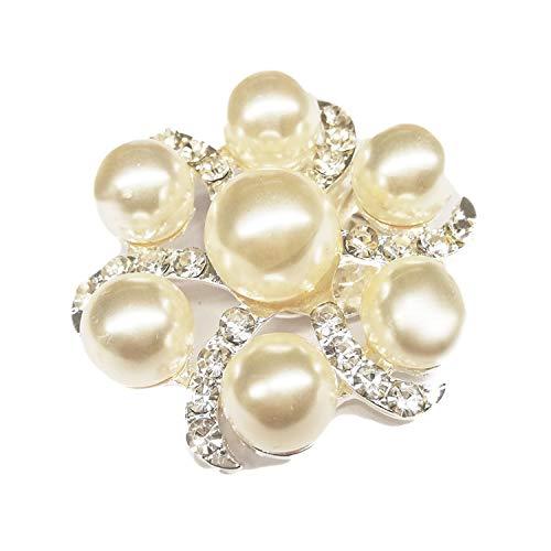 La Loria Damen 2 Schuhclips -Little Beauty- in Weiß silber, Schuhschmuck Kristall Perle Brosche