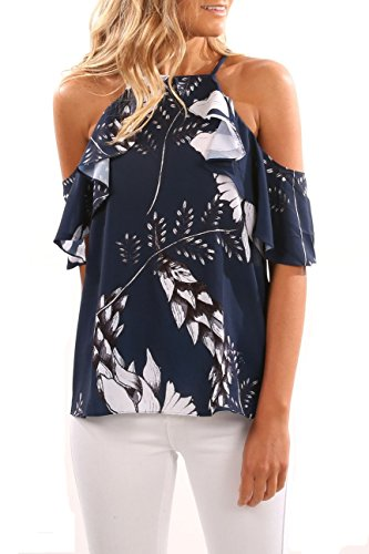 Pxmoda Women ColD Shoulder Ruffle Floral Printed T Shirt Blouse