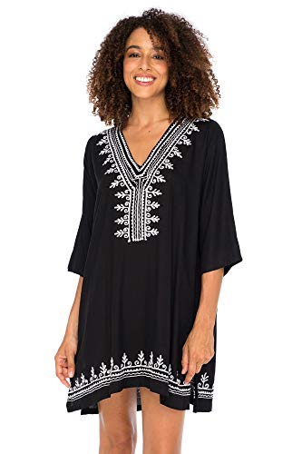 - Back From Bali Womens Boho Embroidered Swimsuit Cover Up Loose Fit Casual Tunic Top Dress Resort Wear Black S/M