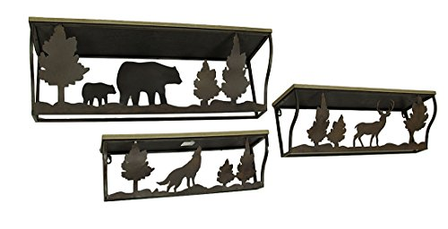 Wood & Metal Hanging Shelves 3 Piece Forest Animal Rustic Blackened Brown Wood And Metal Wall Shelf Set 28 X 9 X 8 Inches Brown by Zeckos