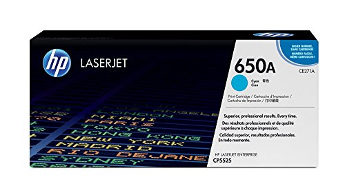 0 Compatible Laser Toner - HP 650A (CE271A) Cyan Toner Cartridge for HP Color LaserJet Enterprise CP5525 M750