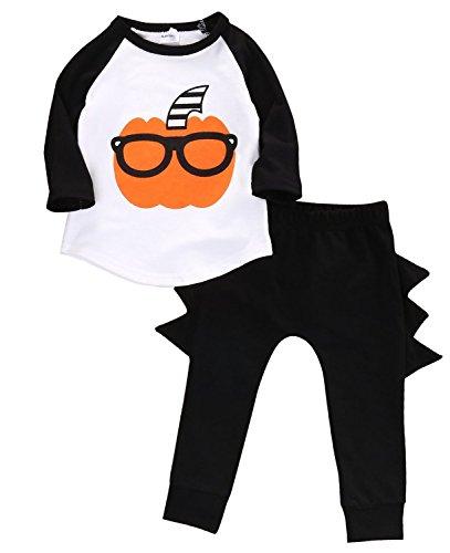 2 Pieces Baby Boys Long Sleeve Outfits Pumpkin T-shirt and Cartoon Pants Set