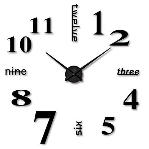 Clock Black Tile Decorative (Yeefant Simple Modern Art DIY Removable Easy Install DIY Acrylic 3D Mirror Surface Wall Sticker Decorative Clock for Living Room Bedroom,Black)