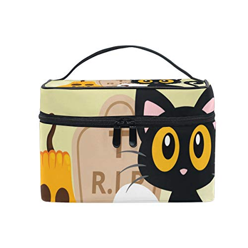 Jojogood Halloween Cat Background Large Cosmetic Bag Travel Makeup Toiletry Organizer Case for Women Girls]()