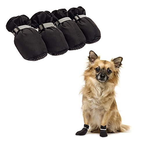 Dog Shoes Waterproof Dog Boots, Paw Protectors with Reflective and Adjustable Straps, Anti-Slip for Indoor & Outdoor Wear