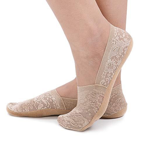 - Flammi Women's 4 Pairs Lace No Show Liner Socks Non Slip Cotton Bottom Low Cut Boat Socks (Dark Beige)