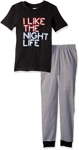 Crazy 8 Boys' Big Short Sleeve Tight Fit Pajama Set, I Like Night Life, -