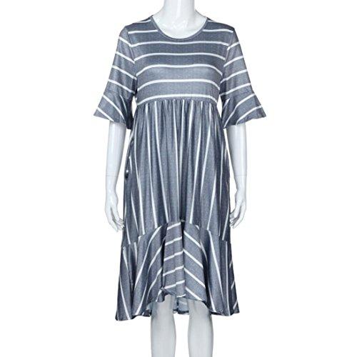 a302fc140b7 ... Blau Faltenrock Blütenblatt Freizeit Mode Kleid Grau 38~44 Gestreift Eu Ziyou  Damen S- ...