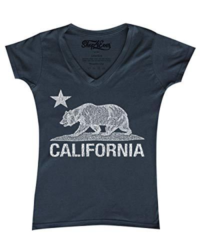 (Shop4Ever California Distressed White Bear Women's V-Neck T-Shirt Cali Shirts Medium Charcoal)