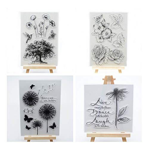 Welcome to Joyful Home 4 Different Floral Tree Rubber Clear Stamp for Card Making Decoration and Scrapbooking