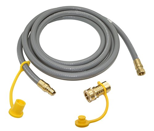 DOZYANT 12 Feet Natural Gas and Propane Gas Hose Assembly for Low Pressure Appliance -3/8 Female Pipe Thread x 3/8 Male Flare Quick Connect Disconnect - CSA Certified