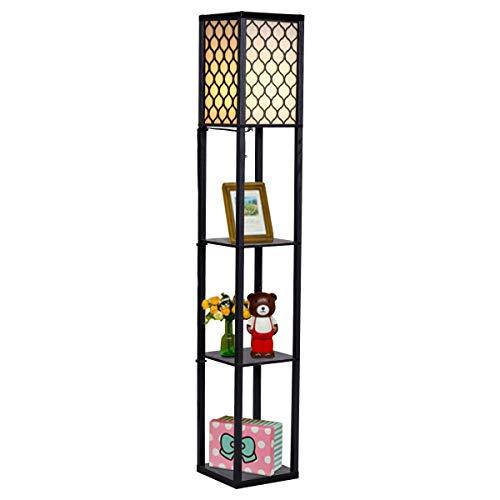 COSTWAY Staande lamp met houten plank, 3-laagse staande lampen, 160 cm hoog vloerlamp voor woonkamer en slaapkamer, 2-in…