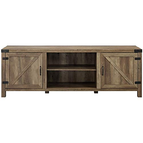 """Walker Edison Furniture Company Modern Farmhouse Barn Wood Stand with Cabinet Doors TV's up to 80"""" Living Room Storage Shelves Entertainment Center, 70 Inch, Reclaimed Barnwood"""