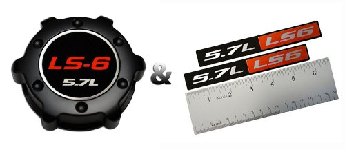 Billet Badge (COMBO – LS6 5.7L BLACK OIL CAP in Billet Aluminum + 2 x (pair/set) RED BLACK 5.7L Liter LS6 Real Aluminum Engine Hood Emblem Badge Nameplate Crate for 01-04 Corvette Z06 04-05 Cadillac CTS-V)