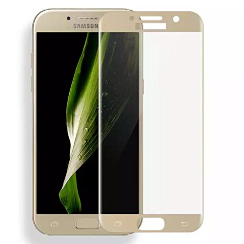 ASLING Samsung Galaxy A7(2017) Screen Protector,3D Tempered Glass Screen Protector with 9H Hardness Full Coverage Ultra HD Clear Anti-Bubble Scratch Proof Military Grade Screen Cover (Gold)