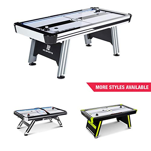 Power Air Hockey Table - MD Sports Air Hockey Table for Adults and Kids, with LED Lights and Sound Effects - Multiplayer Air Powered Hockey Tables for Home, Bar, Arcade, Lounge, Billiard Room, Game Room - Includes Accessories