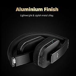 Bluetooth Headphones, iDeaUSA Wireless Headphones with Mic, Noise Reduction Headphones Foldable Over ear Headphones for TV, Sports, aptX Hi-Fi Sound Lightweight - Black