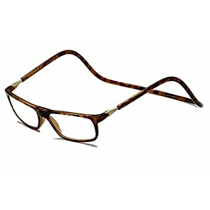 CliC Executive Single Vision Full Frame Designer Reading Glasses, Tortoise, +1.75