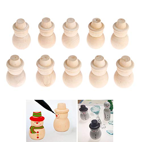 (10PCs Wood Peg Dolls Wooden Figures, Mini People Unfinished Wooden DIY Craft Toy Set Decoration Unpainted Blank Wooden Peg People, DIY Toy Wedding Home People Shapes, Snowman Shape )