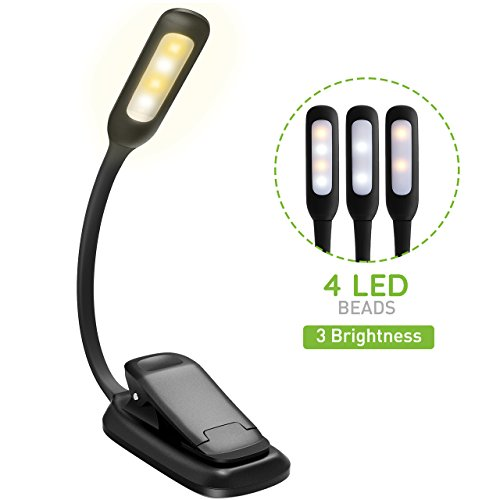 LED Reading Light, Atmoko Rechargeable Reading Lamp, 3-level Brightness (Cool and Warm) and Flexible Easy Clip On Book Light, Eye Protection Brightness, Soft Table Light for Night Reading, Kindle