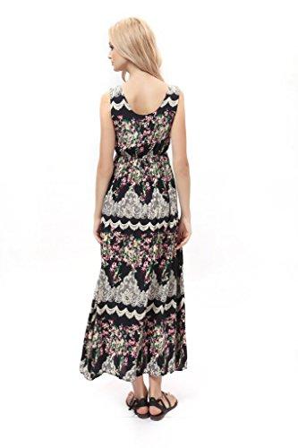 Dilanni Women Summer Print Beach Dress Plus Size Long Casual ...