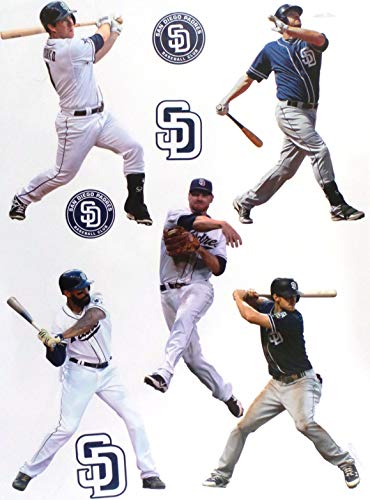 - FATHEAD San Diego Padres Mini Team Set 5 Players + 4 Padres Logo Official MLB Vinyl Wall Graphics - Each Player 7
