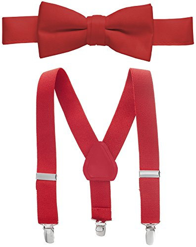 Hold'Em Suspender and Bow Tie Set for Kids, Boys, and Baby - Proudly Made in USA - Extra Sturdy Polished Silver Metal Clips, Pre tied Bow Tie-Red 22