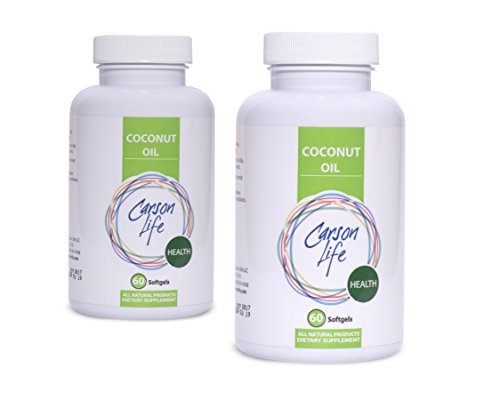 Carson Life - Hi-Strength Coconut Oil Capsules - 2 PACK (120 Softgels) - Promote Weight Loss, Boost Digestion, Natural for Hair, Skin, and Nails - Made in the USA