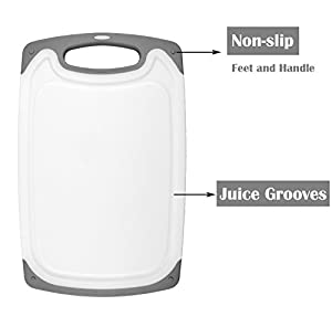 HOMWE Kitchen Cutting Board (3-Piece Set) | Juice Grooves w/ Easy-Grip Handles | BPA-Free, Non-Porous, Dishwasher Safe | Multiple Sizes