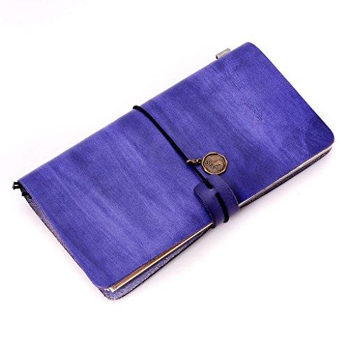 Leather Journal,Linshi Tasks Vintage Handmade Refillable Traveler's Journal for Women with Zipper Pocket Refill(Ocean blue)