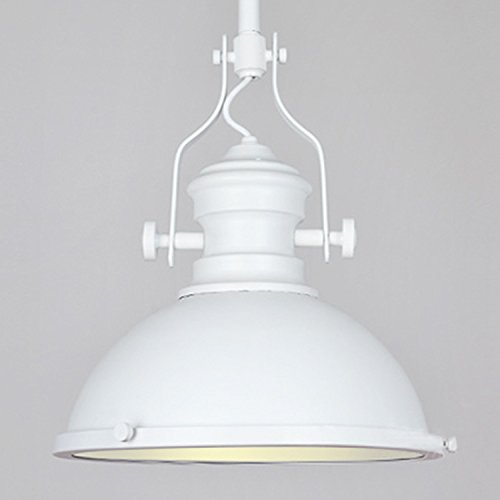 Industrial Antique One-Light Pendant Lamp-Litfad Frosted Diffuser One light Iron Pendent Light Mounted Fixture in White ()