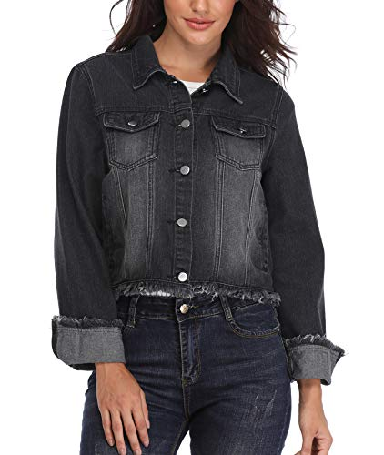 Collar Down Long Turn Coat Button Casual Jean Moly Jacket Denim Black Womens Elegant Pockets Outwear Miss Down Sleeves 18q6x