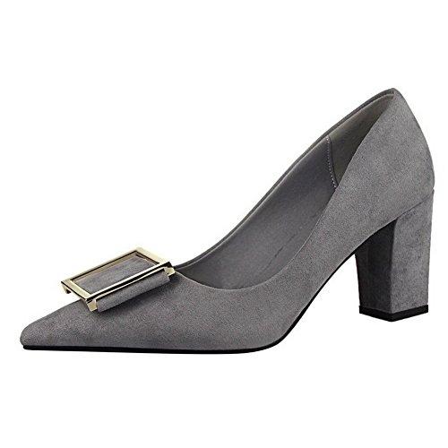 Allhqfashion Donna Pull Su Imitazione Pelle Scamosciata A Punta Chiusa Tacco Alto Scarpe-scarpe Grigie