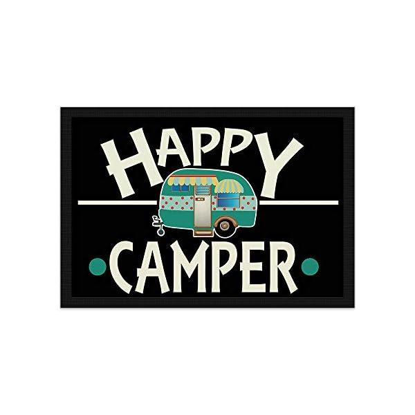 Print Royal Camping Fußmatte mit lustigem Spruch - Happy Camper - Geschenkidee / Camping Zubehör / Campingmatte…