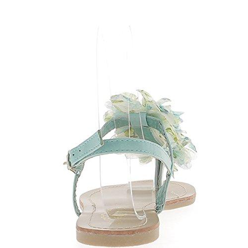 Un Tessuto A Piedi Verde Piatti In Arredamento Tra Nudi Fiori Blu Con Dito Chaussmoi aw01A6