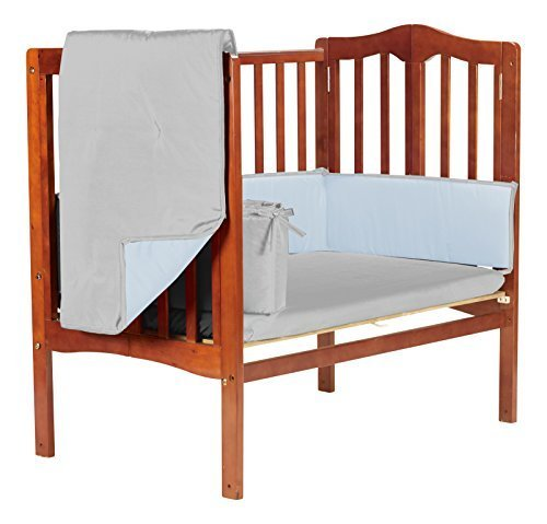 Baby DollBedding  Solid Reversible Cradle Bedding Set, Grey/Blue