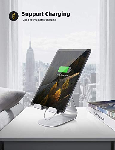"""Tablet Stand Adjustable, Lamicall Tablet Stand : Desktop Stand Holder Dock Compatible with Tablet Such as iPad Pro 9.7, 10.5, 12.9 Air Mini 4 3 2, Kindle, Nexus, Tab, E-Reader (4-13"""") - Silver"""