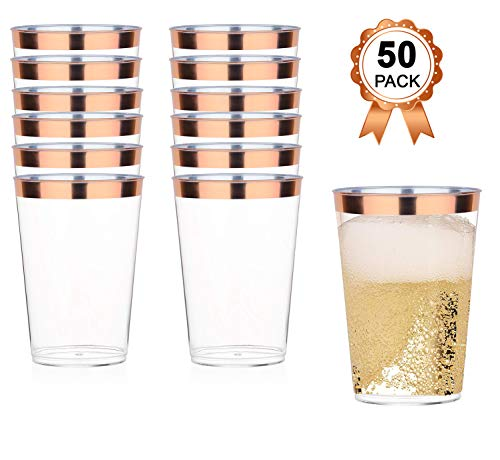 Rose Gold Plastic Cups | 12 Oz. 50 Pack Clear Plastic Cups Durable Perfect Size | Rose Gold Rimmed Stylish Party Plastic Cups | Elegant Plastic Champagne Glasses | Fancy Rose Gold Party Decorations