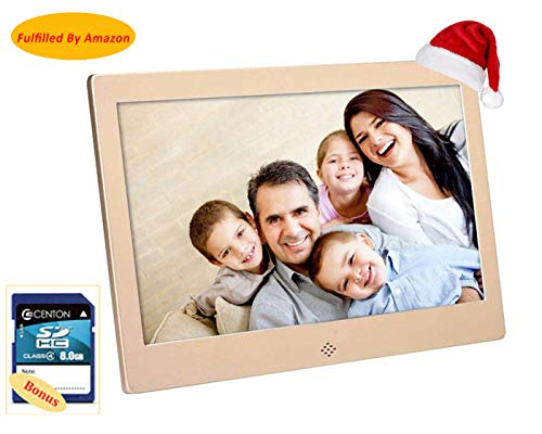 E-living 10Inch DH Digital Photo Frame 1024x600 High Resolution for Wall Mount or Tabletop Use, 8GB Storage Digital Picture Frame with Remote Control Built-in Slideshow SD Card USB Flash Drive Ports