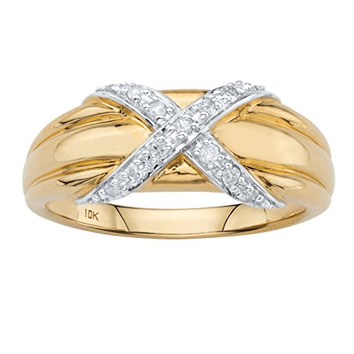 Diamond Criss Cross Ring - Solid 10k Yellow Gold White Diamond Crisscross Ring .13 cttw, HI Color, I3 Clarity