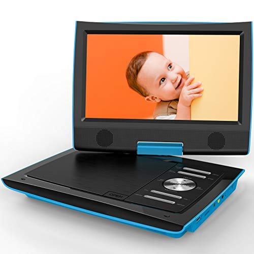 e DVD Player with Dual Earphone Jack, 360° Swivel Screen, 5 Hrs Rechargeable Battery, Supports SD Card/USB/CD/DVD and Region Free, Remote Controller, Blue ()