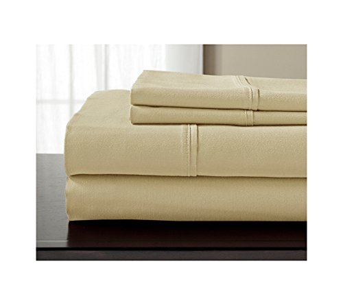 Elite Home Products 800-Thread Count Luxury Manor Solid Sheet Set Beige California King Sheet Set